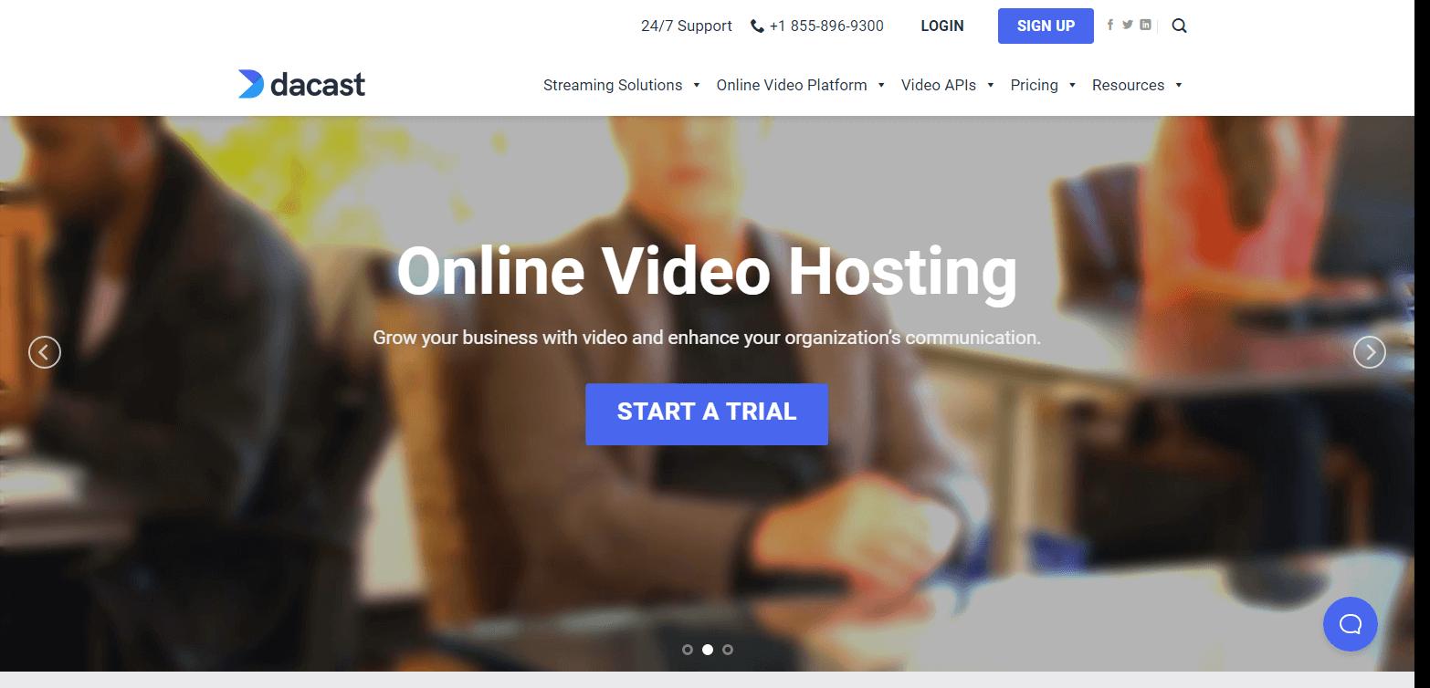 Скриншот сайт Dacast на 11 месте в списке видеохостингов