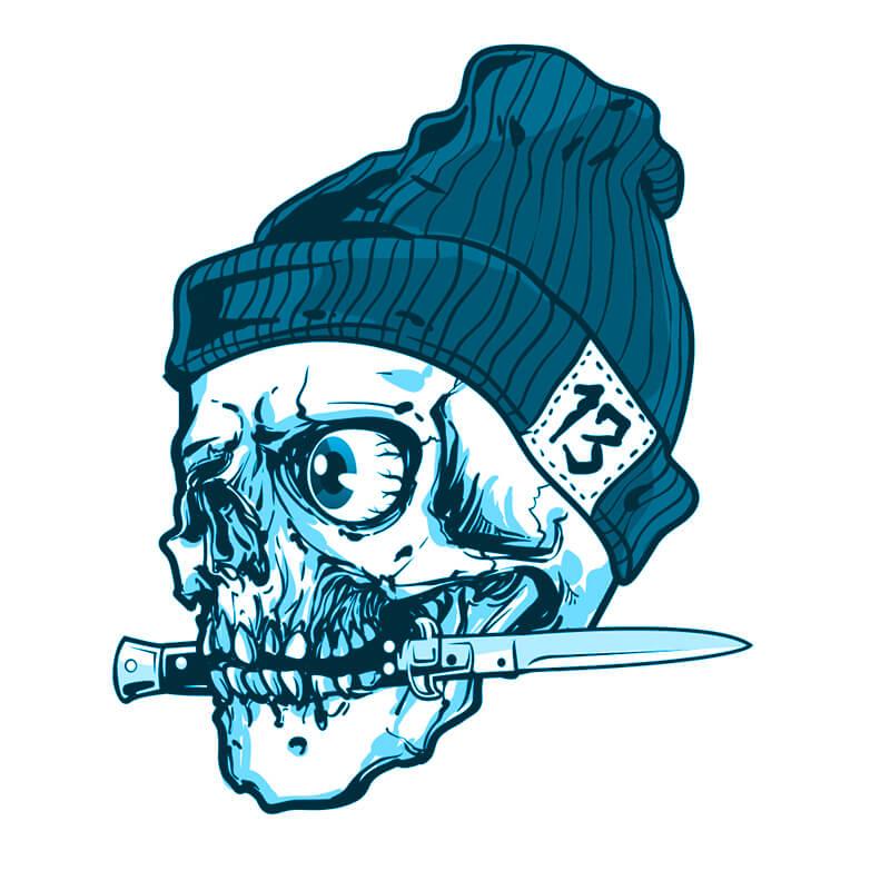 Картинка аватарка ютубера бандитский череп в шапке и с ножом в зубах