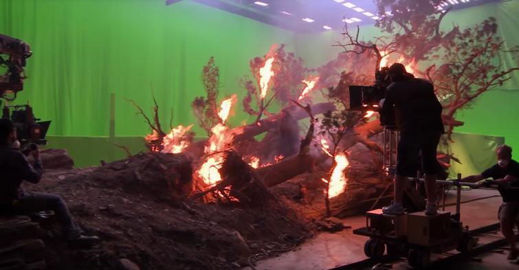Фото зеленый экран храмакей и горящее дерево на съёмках фильма