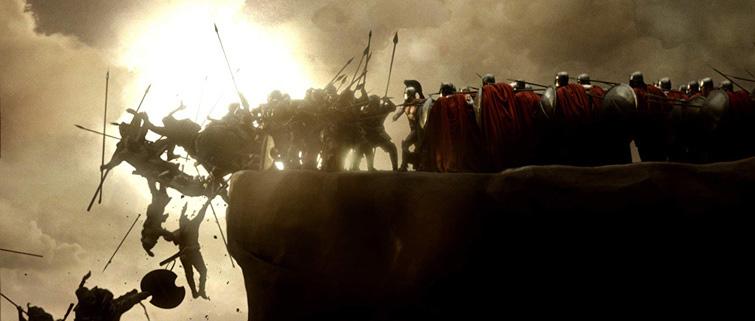 Картинка chroma key сцена сражения толпы персов с отрядом спартанцев