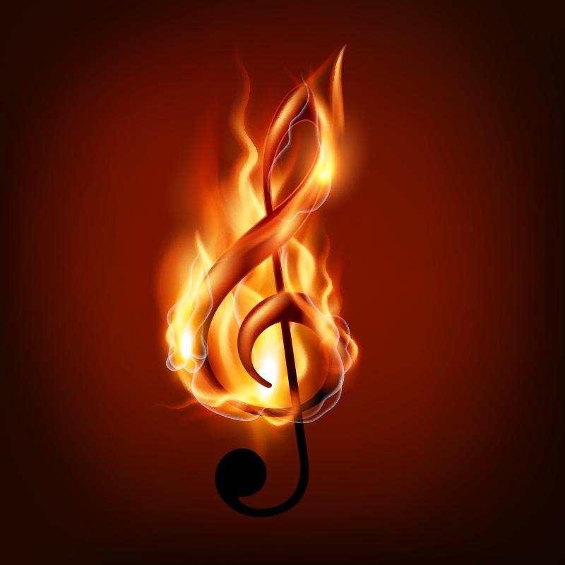 Музыкальная аватарка горящий символ скрипичного ключа в жарком пламени