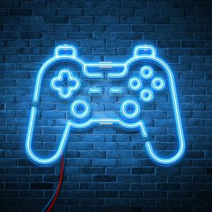 Картинка голубая с неоновым свечением аватарка джойстик для домашней игровой консоли