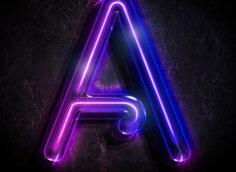 Картинка пурпурная аватарка с буквой А неонового свечения