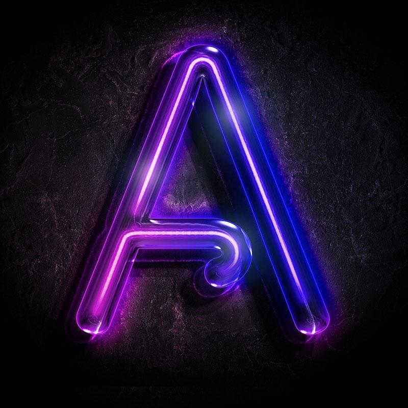 Пурпурная аватарка с буквой А неонового свечения