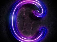 Картинка пурпурный символ аватарки с буквой с в неоновом свете