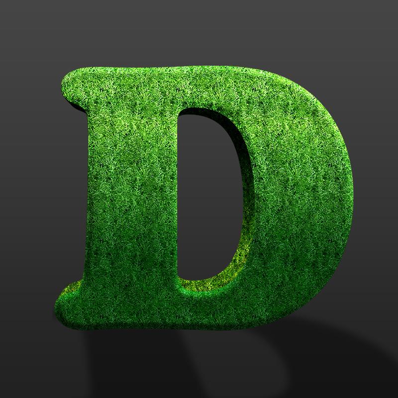 Зелёная буква d из травы