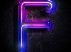 Картинка буква f на аву в виде голубой неоновой вывески
