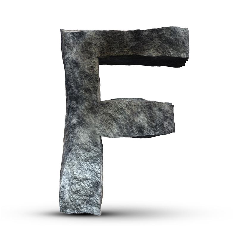 Каменная буква f на аву для ютуба