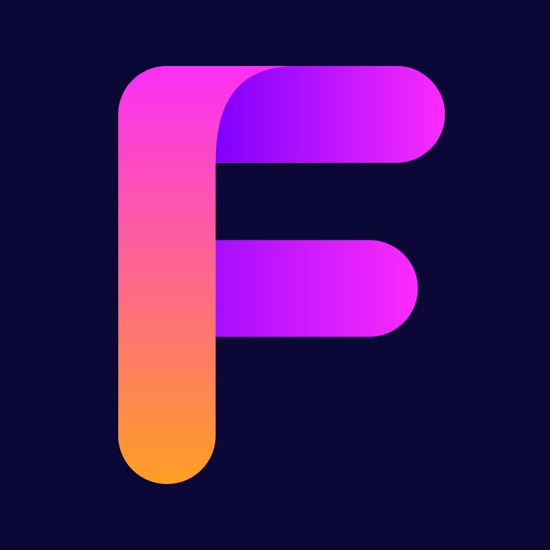 Изображение пурпурная аватарка с буквой f для ютуба на фиолетовом фоне