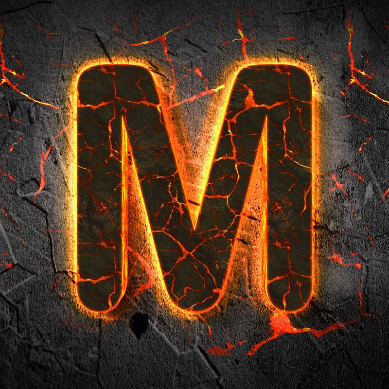 Картинка с буквой м на тёмном фоне