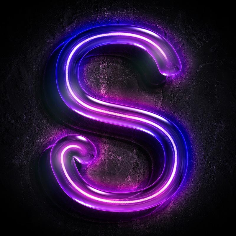 Пурпурная аватарка с буквой s с фиолетовым неоновым светом