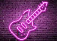 Картинка розовая аватарка музыка в виде неоновой электро гитары