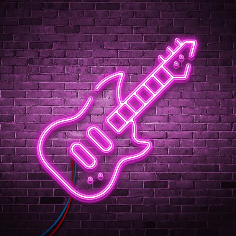 Розовая аватарка музыка в виде неоновой электрогитары
