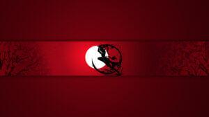 Картинка красная аниме шапка для канала с чёрным логотипом на фоне светящейся луны