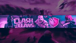 Картинка клэш оф кланс шапка с текстом пурпурного цвета с толпой игровых персонажей