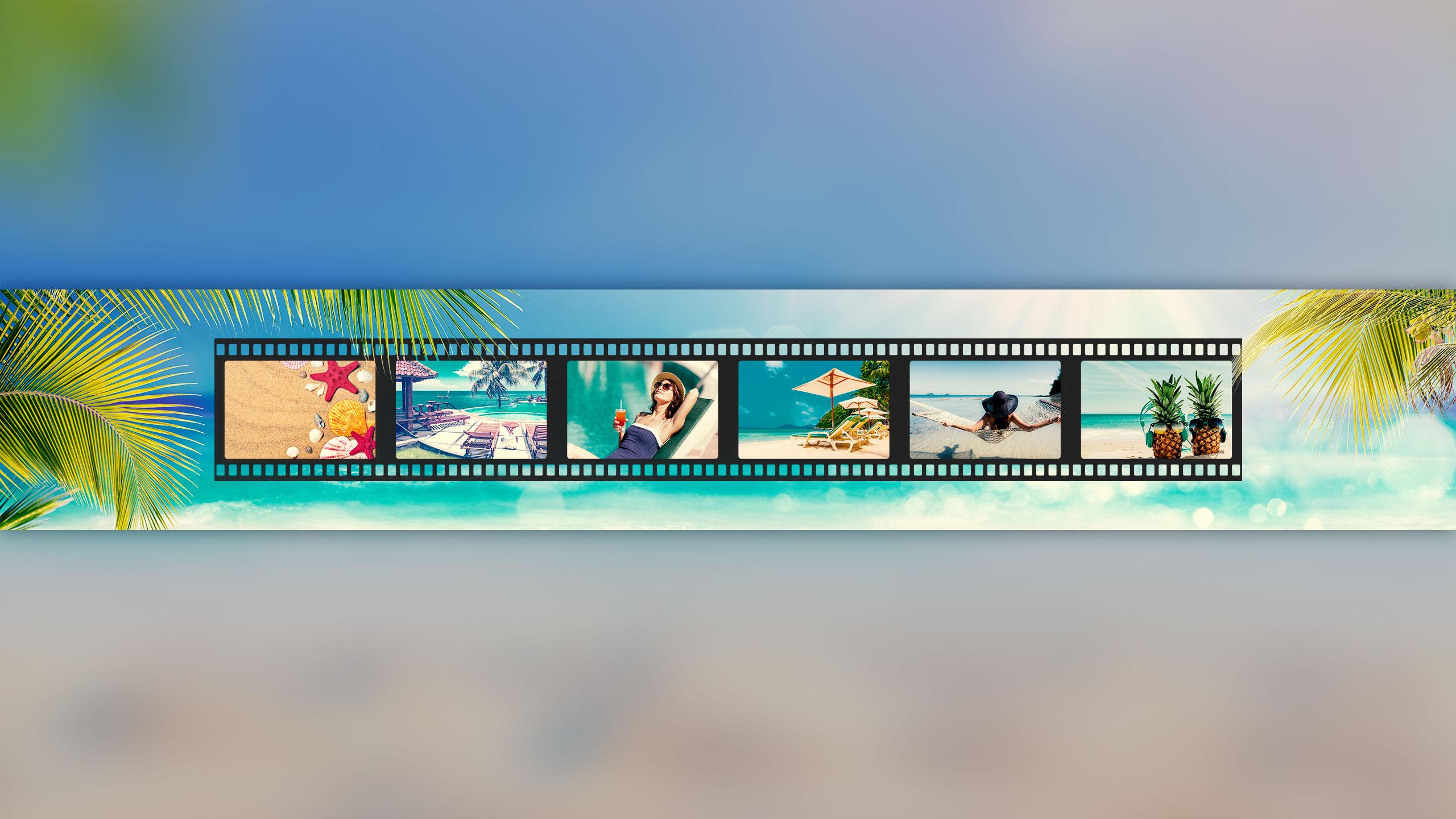 Прямоугольное фото 2560 х 1440 для оформления ютуба бирюзового цвета с кадрами фотоплёнки на фоне моря и пальм