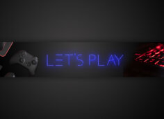 Чёрная картинка с красным неоновым светом на фон для игрового канала.