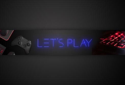 Картинка с красным неоновым светом на фон для игрового канала темного цвета с надписью посредине