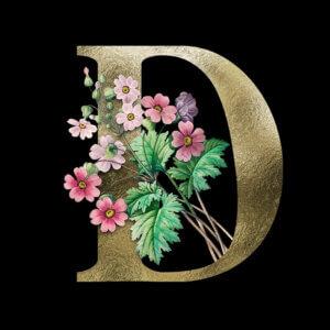 Картинка буква d на аву с розовыми цветами и зелёными листьями
