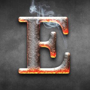 Картинка аватарка с буквой е из горячего металла на тёмном фоне