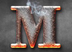 Картинка ава с буквой м из горячего металла
