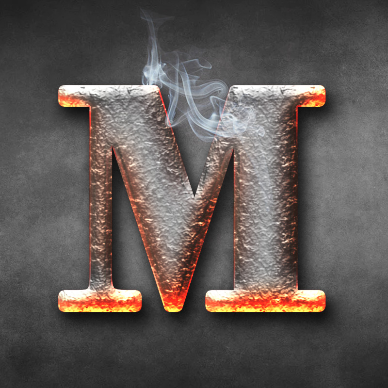 Ава с буквой м из горячего металла