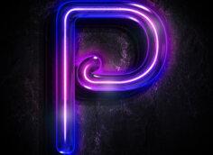 Картинка неоновая аватарка с буквой p пурпурного цвета