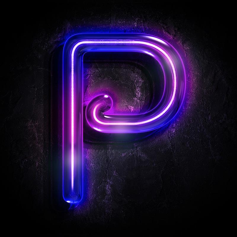 Неоновая аватарка с буквой p пурпурного цвета