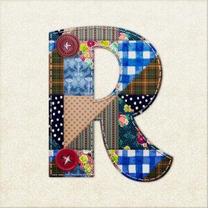 Картинка ава с буквой R из разноцветных текстильных лоскутков