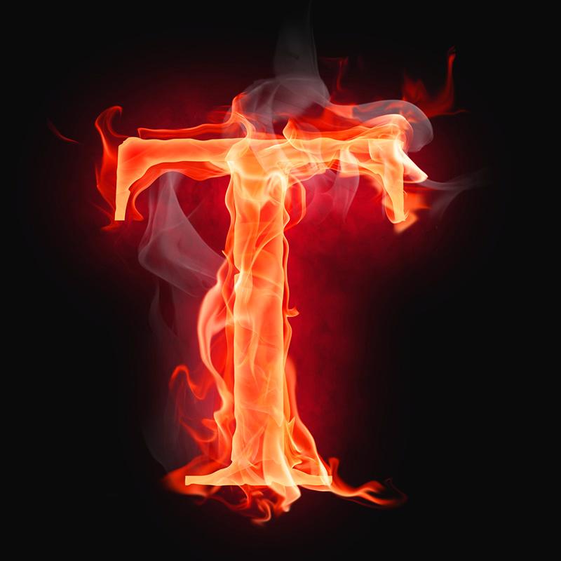 Картинка красная аватарка буква т в огне на чёрном фоне
