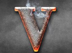 Картинка оранжевая аватарка с буквой V в виде горячего кованого треугольника