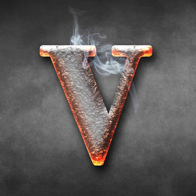 Оранжевая аватарка с буквой V в виде горячего кованого треугольника