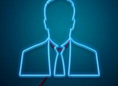 Картинка бизнес аватарка неоновый мужской профиль в деловом костюме на синем фоне