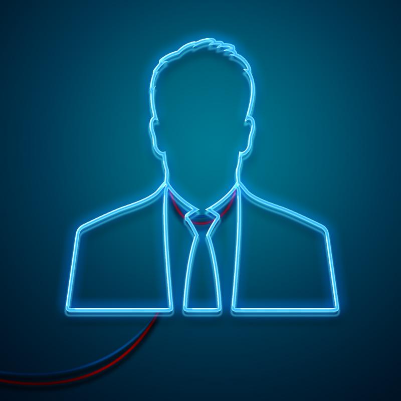 Неоновый мужской профиль в деловом костюме на синем фоне