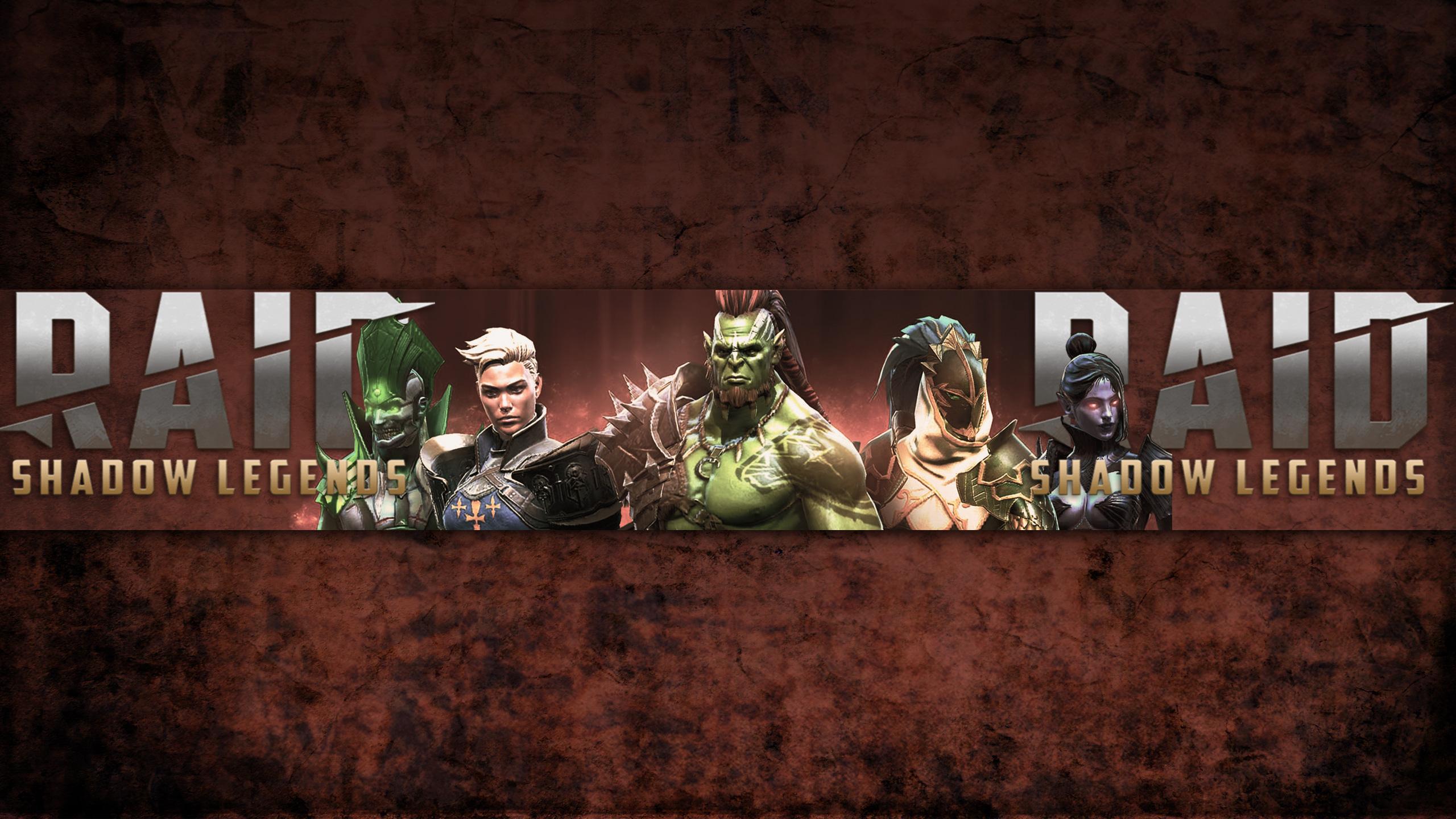 Картинка обложка для ютуба 2560 х 1440 с персонажами игры RAID Shadow Legends