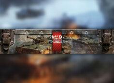 Ютуб баннер темплейт с надписью War Thunder и танками на заднем фоне
