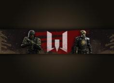 Картинка без текста с персонажами и логотипом игры warface
