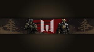 Картинка тёмный фон для шапки без текста с персонажами и логотипом игры warface