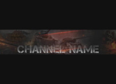 Чёрная шапка для youtube канала с танками и текстом.