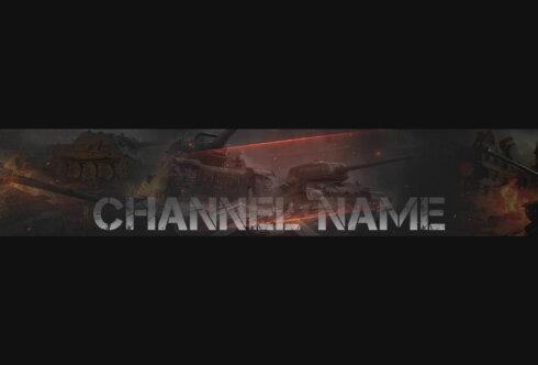 Картинка чёрная шапка для youtube канала с танками на тёмном фоне и надписью с названием