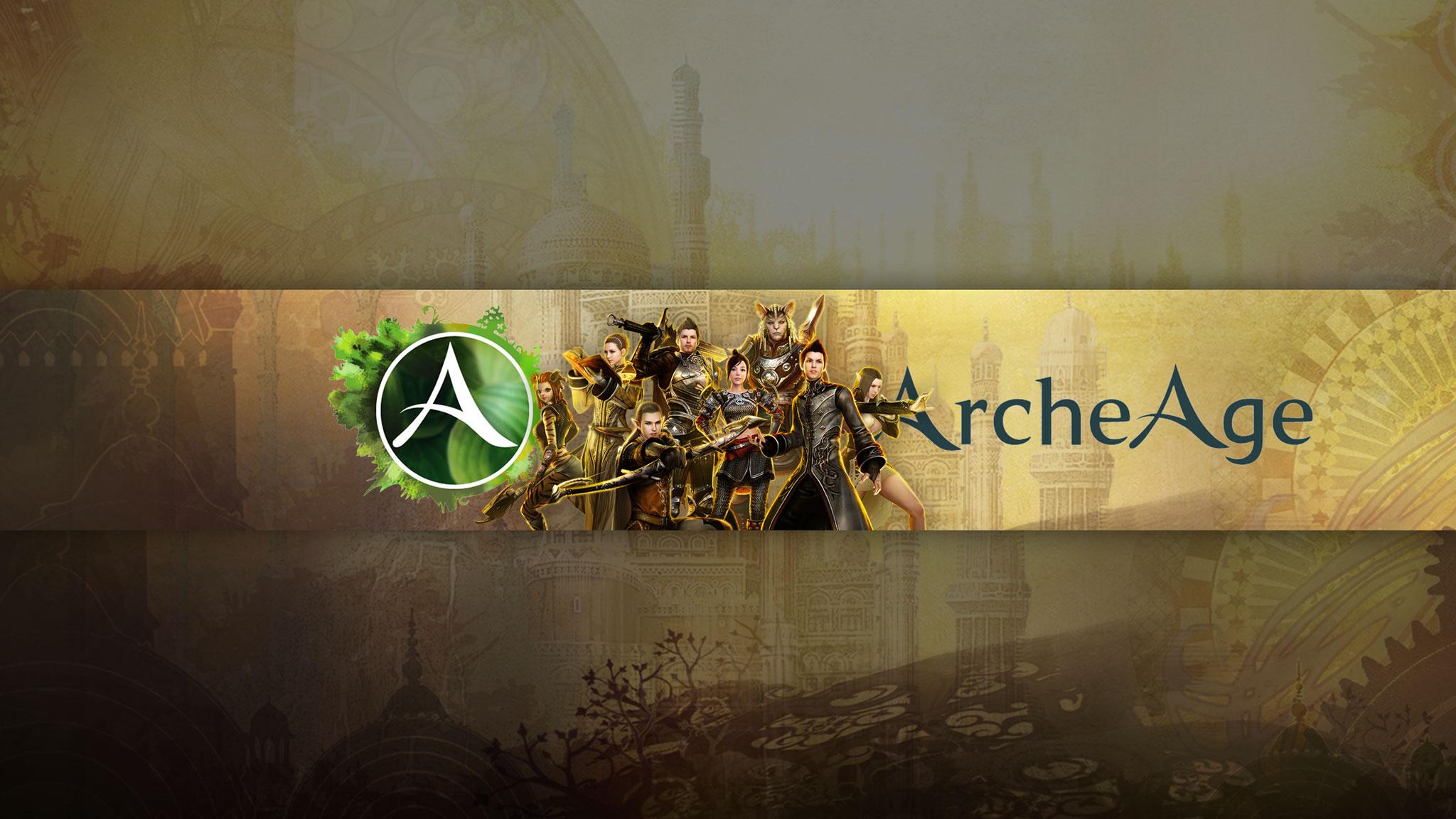 Картинка с текстом - шапка 2048x1152 для ютуба с персонажами игры ArcheAge.