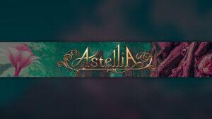 Картинка зелёное фоновое изображение для ютуба с золотой надписью Astellia.