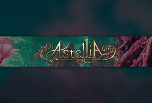 Зелёное фоновое изображение для ютуба с золотой надписью Astellia.