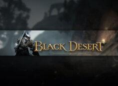 Тёмная картинка с текстом Black Desert и персонажем игры в доспехах с мечом.