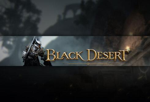 Картинка тёмная игровая шапка для youtube 2560 х 1440 с текстом Black Desert и персонажем игры в доспехах с мечом.