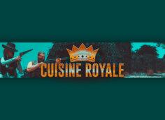 Картинка зеленая шапка для канала ютуб по компьютерной игре с логотипом и надписью Cuisine Royale.