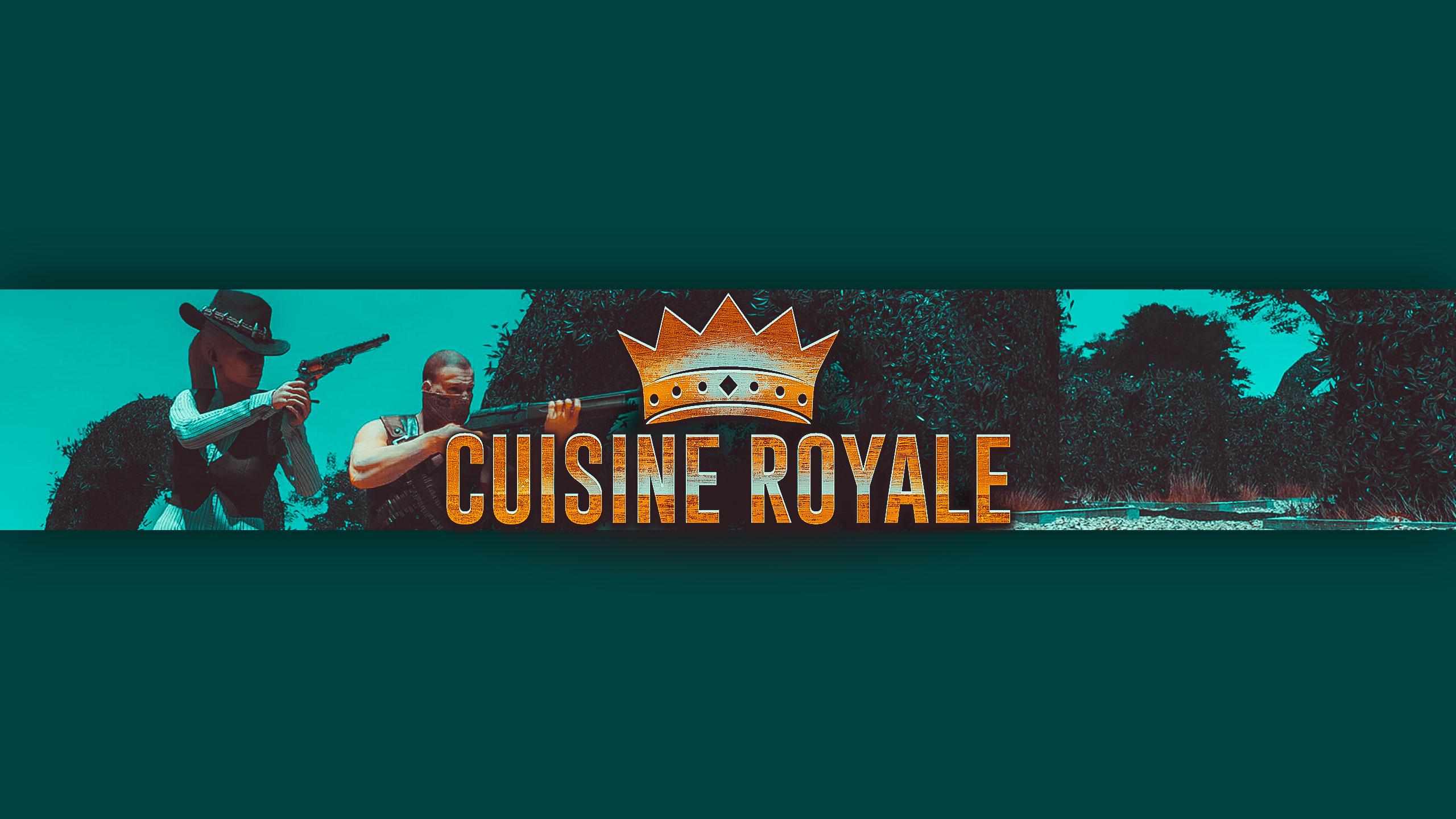 Зеленая шапка для канала с логотипом и надписью Cuisine Royale.