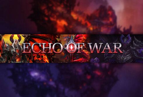 Картинка с текстом - пурпурно - фиолетовый фон для шапки игрового канала Echo of War с пламенем и сказочными персонажами компьютерной игры.