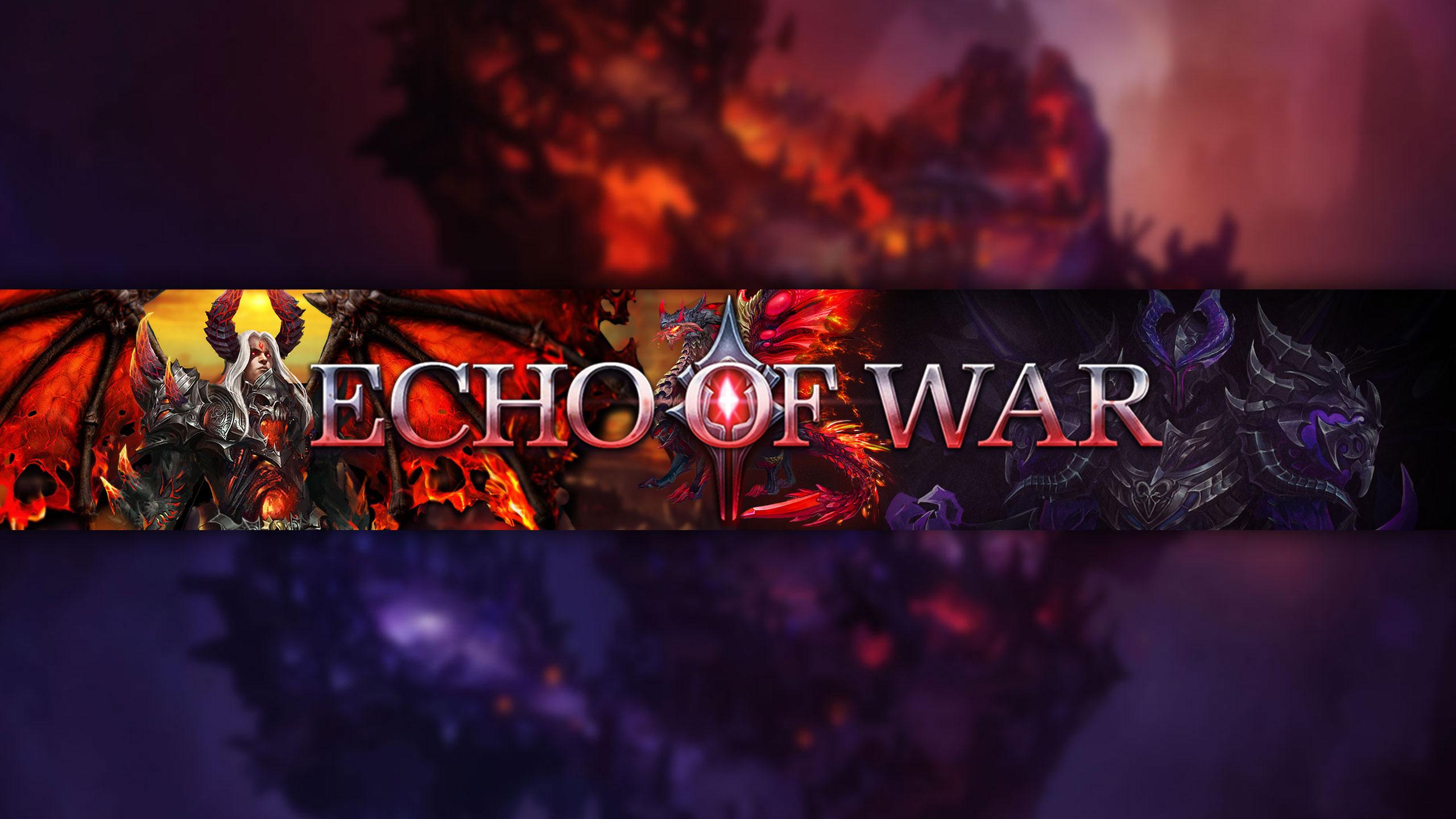 Фиолетовый фон для шапки игрового канала Echo of War с пламенем и сказочными персонажами.