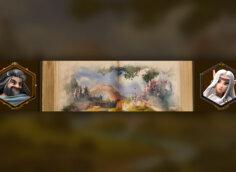 Картинка готовая шапка для ютуба без текста с акварельной картиной сказочного пейзажа и двумя портретами персонажей игры Элвенар.